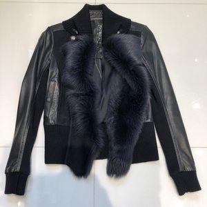 Patrizia Pepe fur lined leather jacket.
